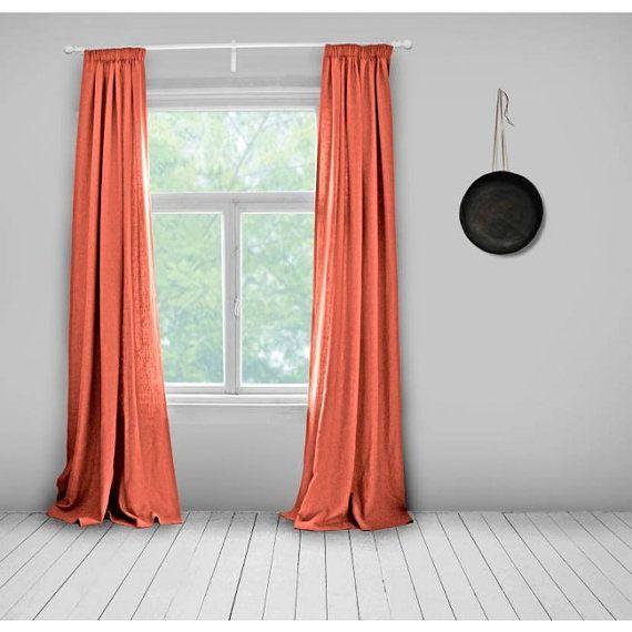 Linen Curtains- Lined- Bright Orange- Plain Orange- Made to ...