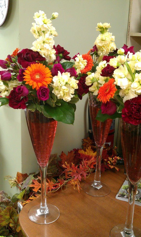 Fall Tones For Centerpieces In A Large Champagne Glass