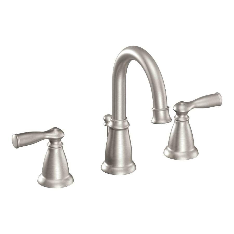 Moen Banbury Spot Resist Brushed Nickel 2-Handle Widespread WaterSense Bathroom Faucet (Drain Included)