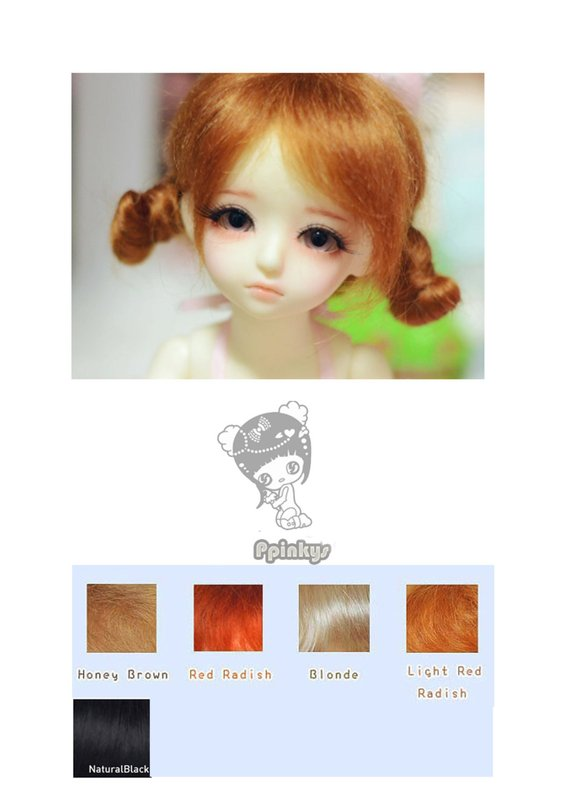 "1//4 1//6 bjd 6-7/"" synthetic mohair light pink doll wig yosd luts iplehouse Lati"