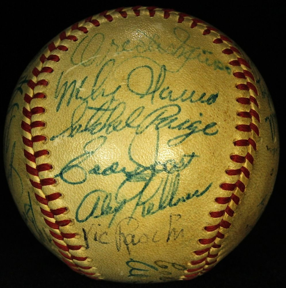 1952 All-Star Game Vintage Baseball Signed by (27) with Satchel Paige, Nellie Fox, Jim Hegan, Vic Raschi, Mike Garcia (JSA ALOA)