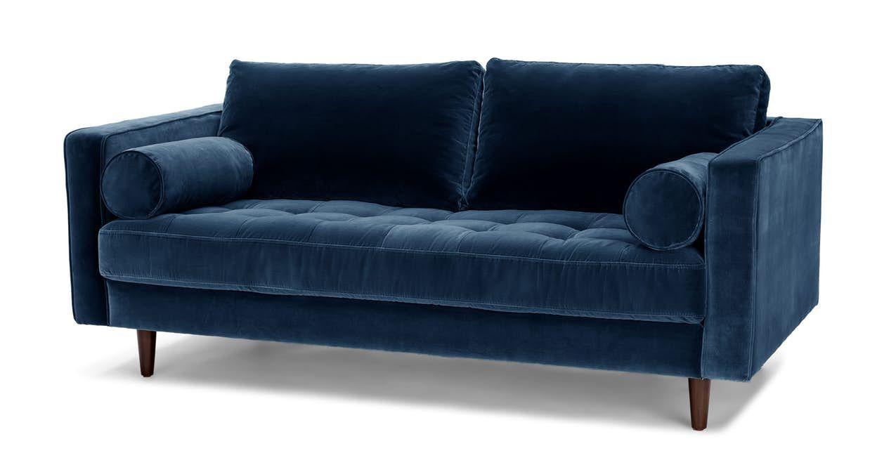 Sven Cascadia Blue 72 Sofa In 2020 Blue Sofa Sofa Blue Velvet Loveseat