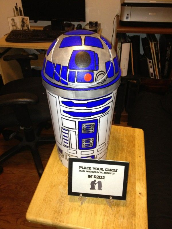 7c4c4068c82d5 Check out Tribesmaid Mofiggy s R2-D2 card box that her future husband made  for their