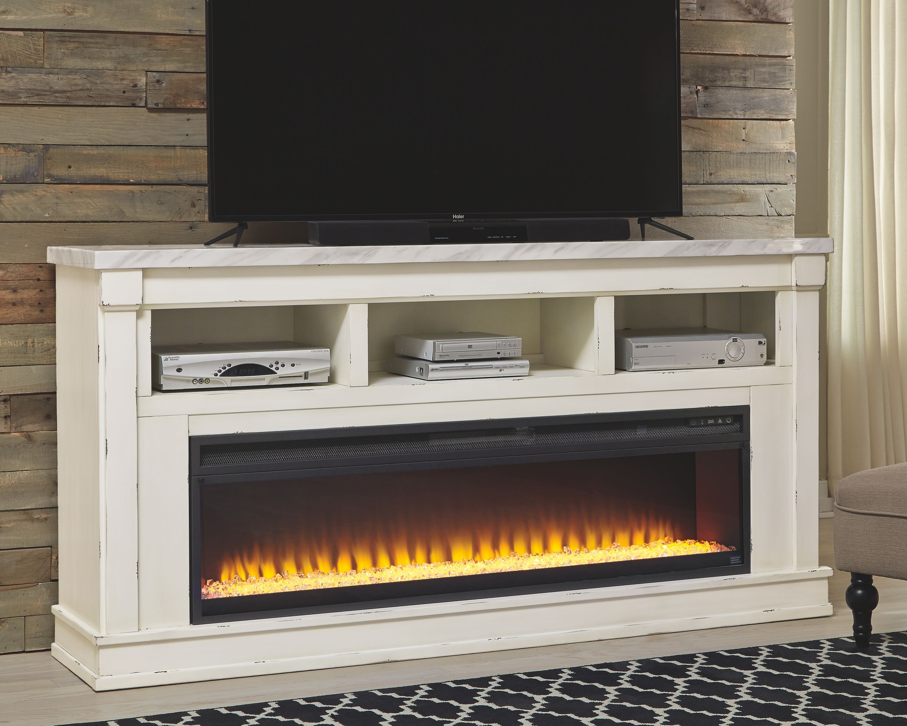 Becklyn Tv Stand With Fireplace Chipped White Tv Console With
