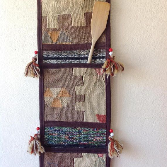 Kilim Wall Hanging Storage with 3 Pockets, Vintage Decor, Office