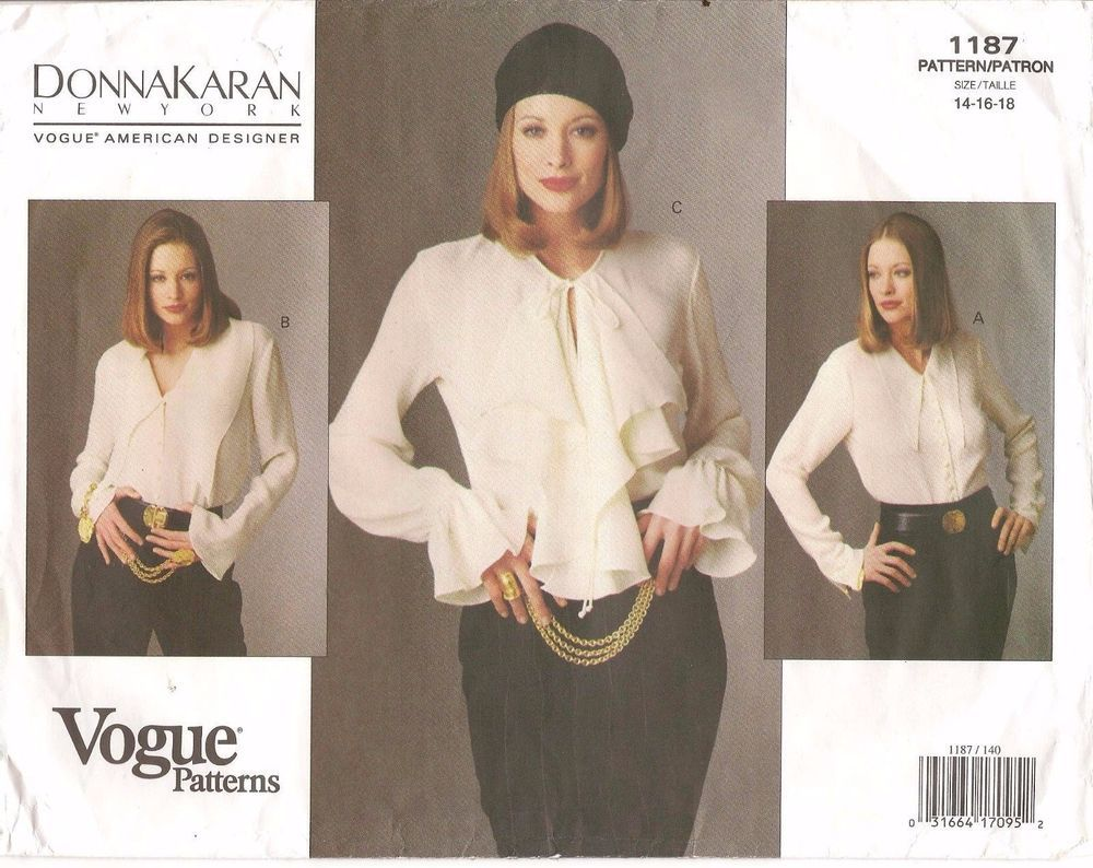 afff5ee539 90s Vogue Sewing Pattern 1187 Donna Karan New York Body Blouse Size 14-16  Uncut
