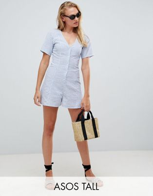 ASOS DESIGN Tall Swing Playsuit With Button Detail In Stripe - Stripe Asos Tall Outlet From China Ng2YjDU