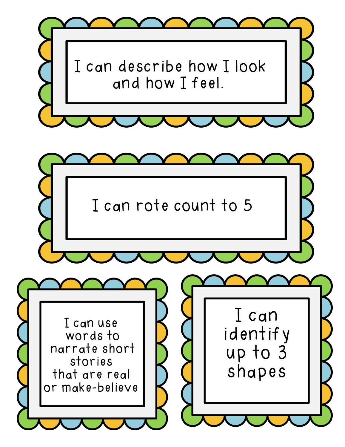 I Can Statements For Preschool