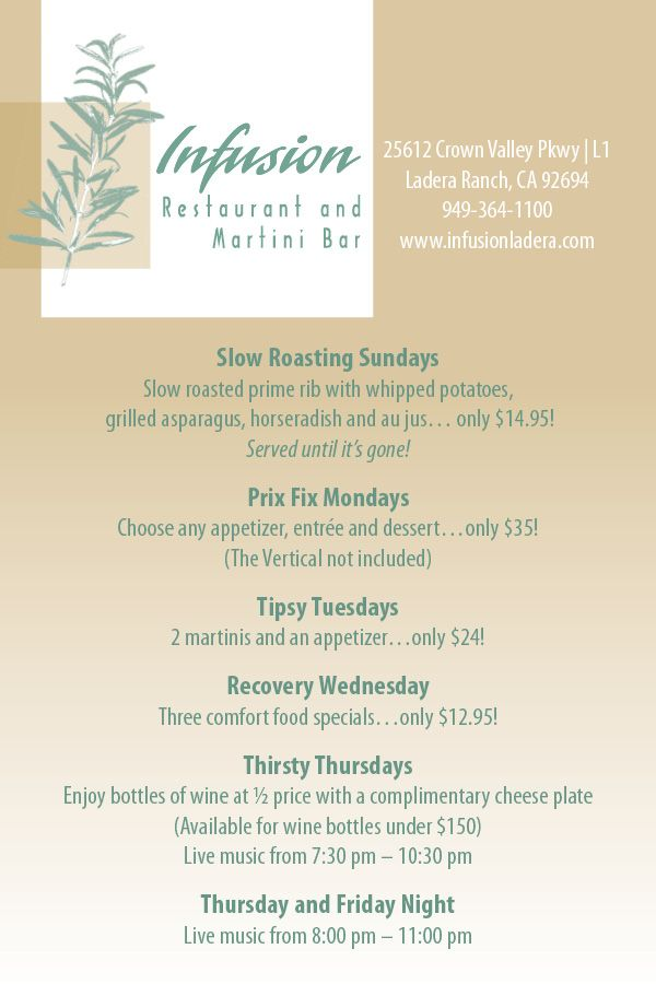 Infusion Ladera Ranch Ca Happy Hour Ideas Pinterest Happy