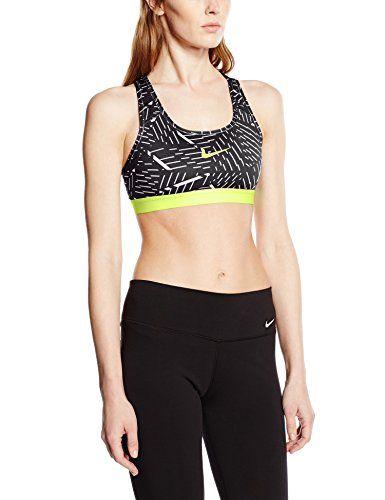 Nike Womens Pro Classic Bash Sports Bra Black White Volt Large Nike http  38b17f989ed
