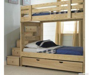 Stackable Bunk Bed With Storage Stairs And Trundle Bed Kids