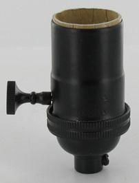 Black Powder Coat 3 Way Rotary Turn Knob Medium Base E 26 Lamp