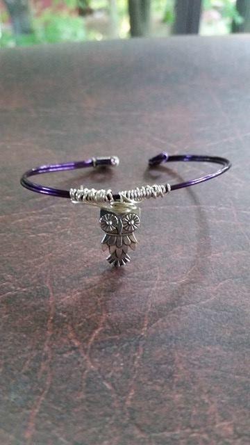 Purple bangle owl bracelet