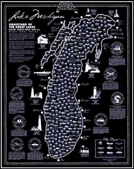 Lake Michigan Shipwreck Poster | Lake michigan, Michigan ... on map of the arctic, map of the staten island ferry, map of the new jersey, map of the weather, map of the great lakes ports, map of the hurricane, map of the north carolina,