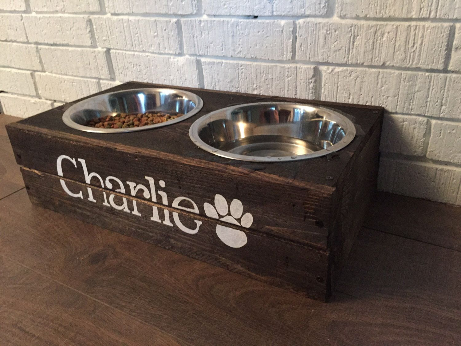 Rustic Custom Made Elevated Wooden Dog Bowl Feederwith Two Bowls By  Bluecharliedesigns On Etsy