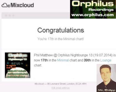 Chart Plazierung bei Mixcloud (London) an Phil Matthew alias Matthias Philipp für den DJ Mix der Nightlounge 14