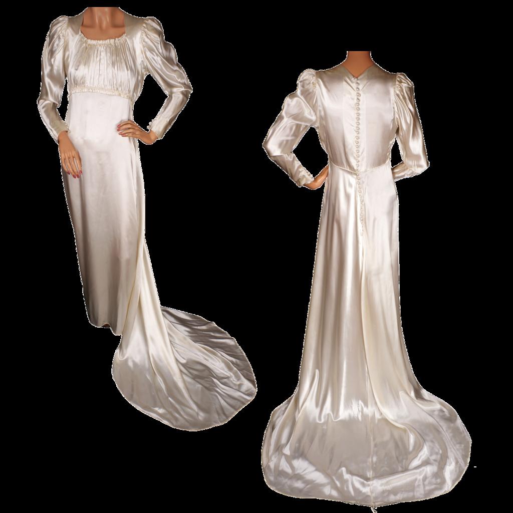 Vintage satin wedding gown with train s juliette style m
