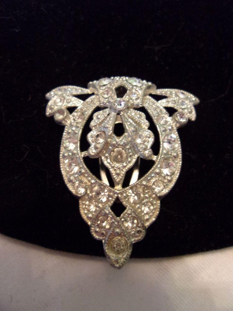 Vintage 1930S Art DECO Diamante Rhinestone Flower Dress Clip Silver Pot Metal  #Unbranded