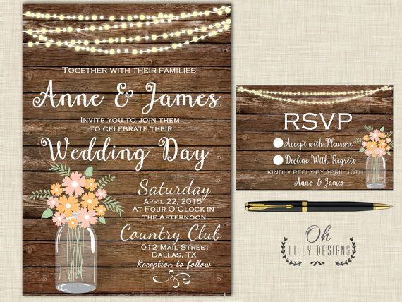 Rustic Wedding Invitation, Country Mason Jar Invitation, Digital - download invitation card