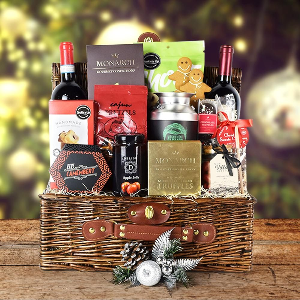 10 Christmas Gift Baskets And Holiday Gift Baskets That Will Blow Your Loved Ones Away Wine Christmas Gifts Christmas Gift Baskets Wine Christmas Gifts Basket