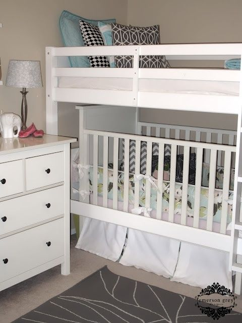 Shared kids room with crib for the home bunk bed with crib underneath my kids shared room - Boy and girl shared room ideas bunk bed ...