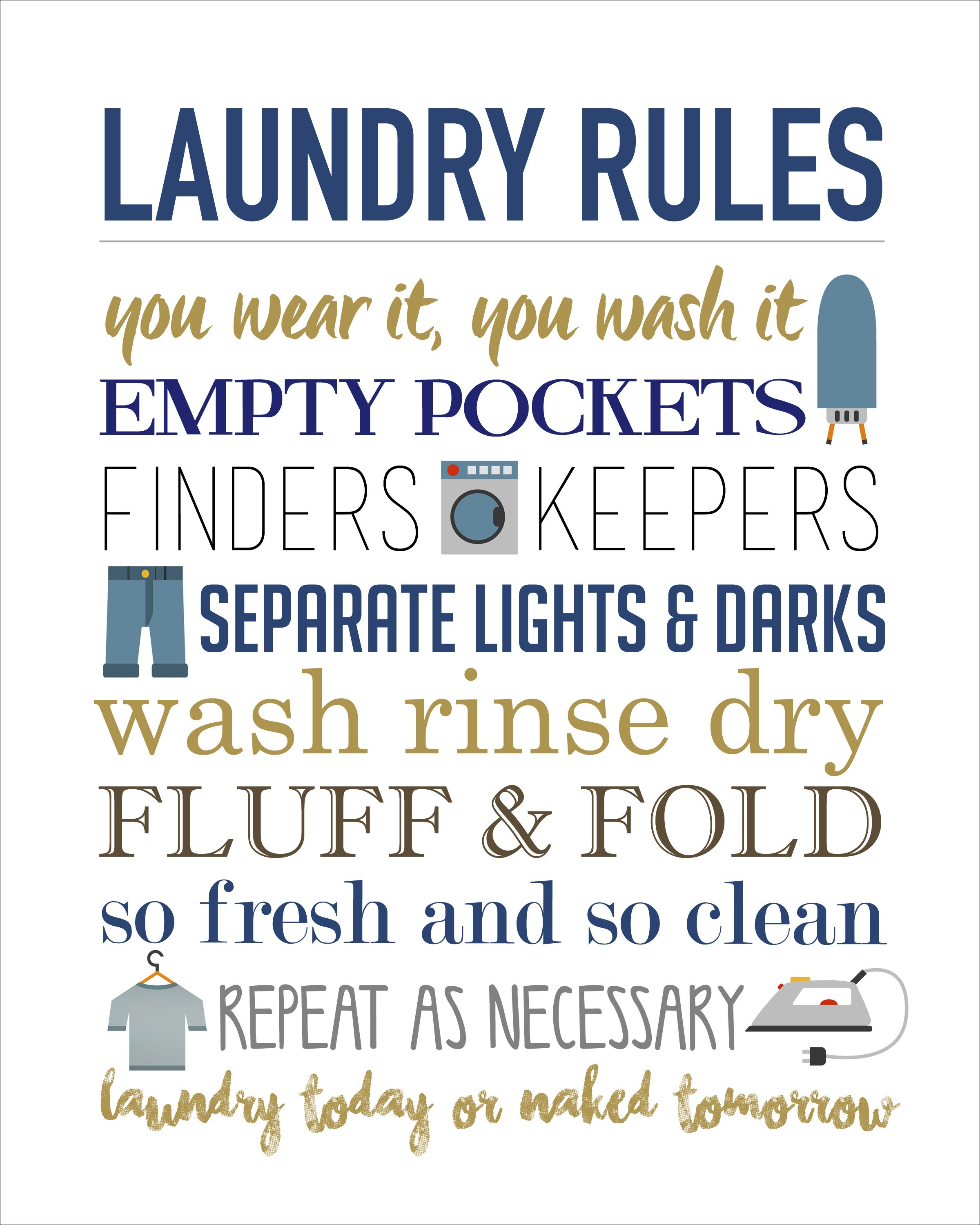 Laundry Rules Printable