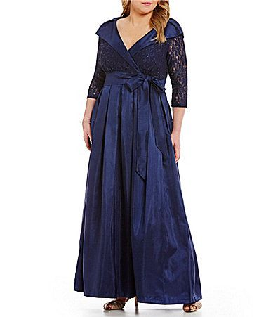 Jessica Howard Plus PortraitCollar Taffeta Ballgown #Dillards