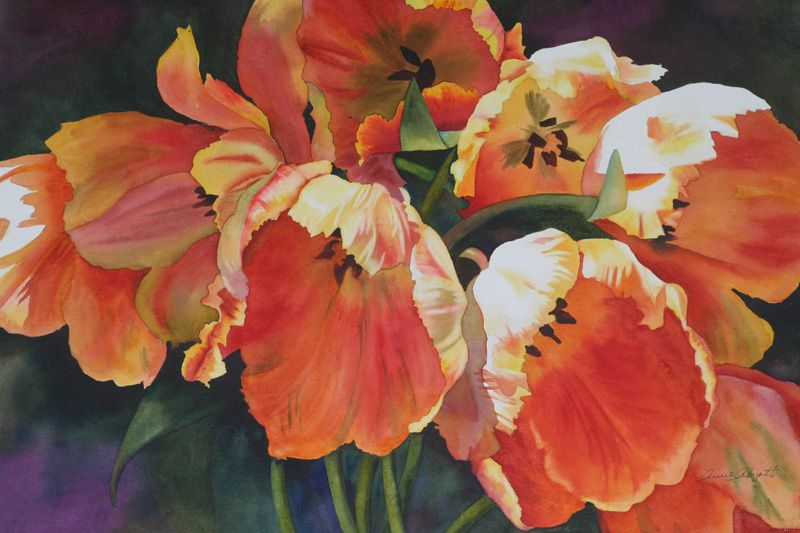 Anne Abgott Award Winning Watercolor Artist Watercolor Tulips