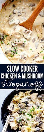 Slow Cooker Huhn und Pilz Stroganoff Rezept  - rezepte - #cooker #Huhn #Pilz #rezept #Rezepte #slow #Stroganoff #und #stroganoffrezepte