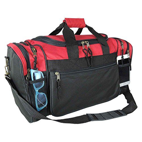 fd7a7a35a8 Blank Duffle Bag Sports Duffel Bag in Red and Black Gym Bag DALIX http