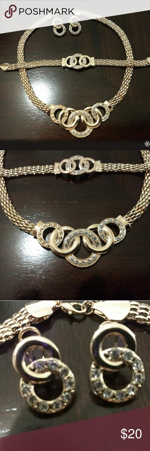 Elegant necklace bracelet u earrings set nwot elegant gold wheat