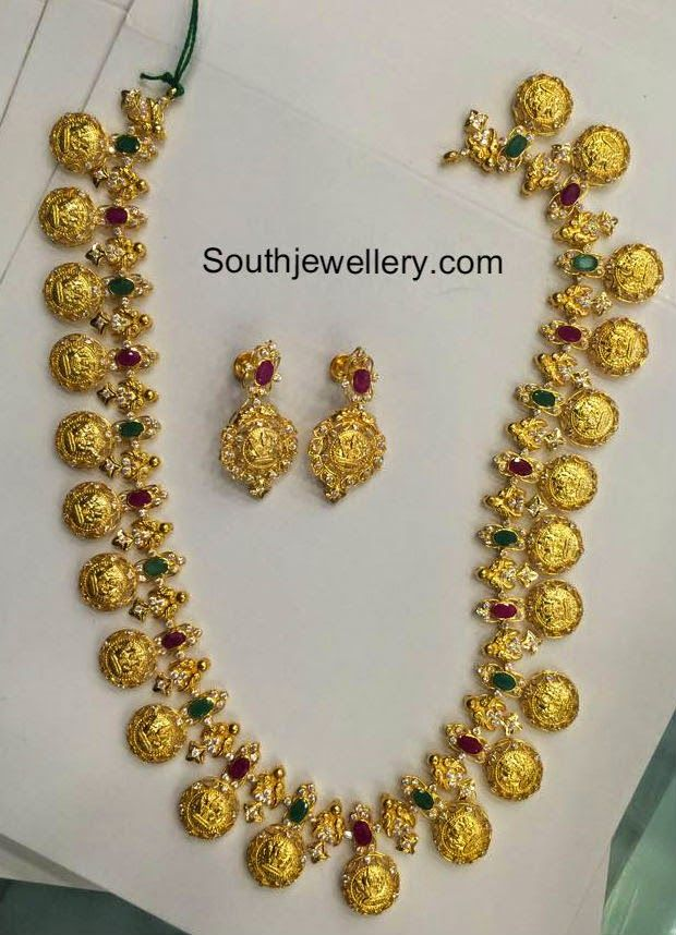 80 Grams Lakshmi Kasu Haram - Jewellery Designs | Indian ...