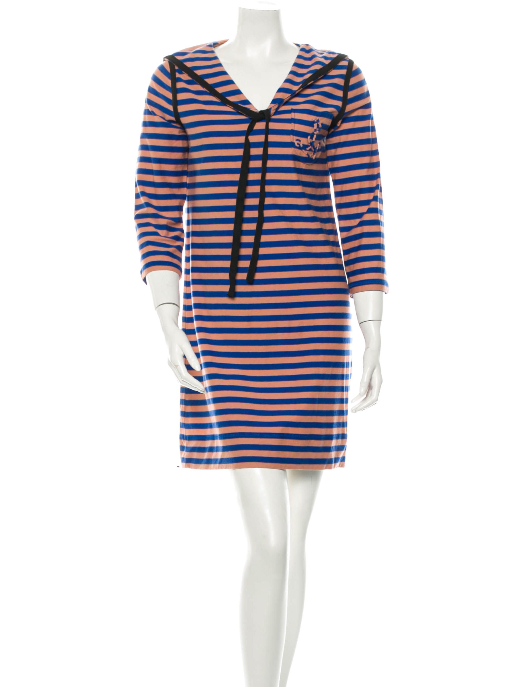 6b00f4fa82 Blue and peach Sonia by Sonia Rykiel striped shift dress with sailor  collar, slip pocket