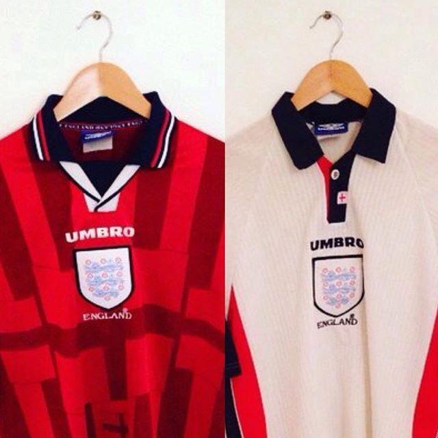 England France 98 Home And Away Umbro Shirts England Englandshirt Englandfootballtean Threelions Retroeng Vintage Football Shirts Retro England Shirt World Cup Shirts