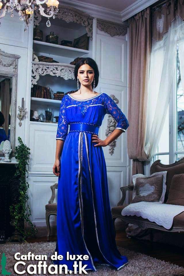 Robe caftan marocain bleu