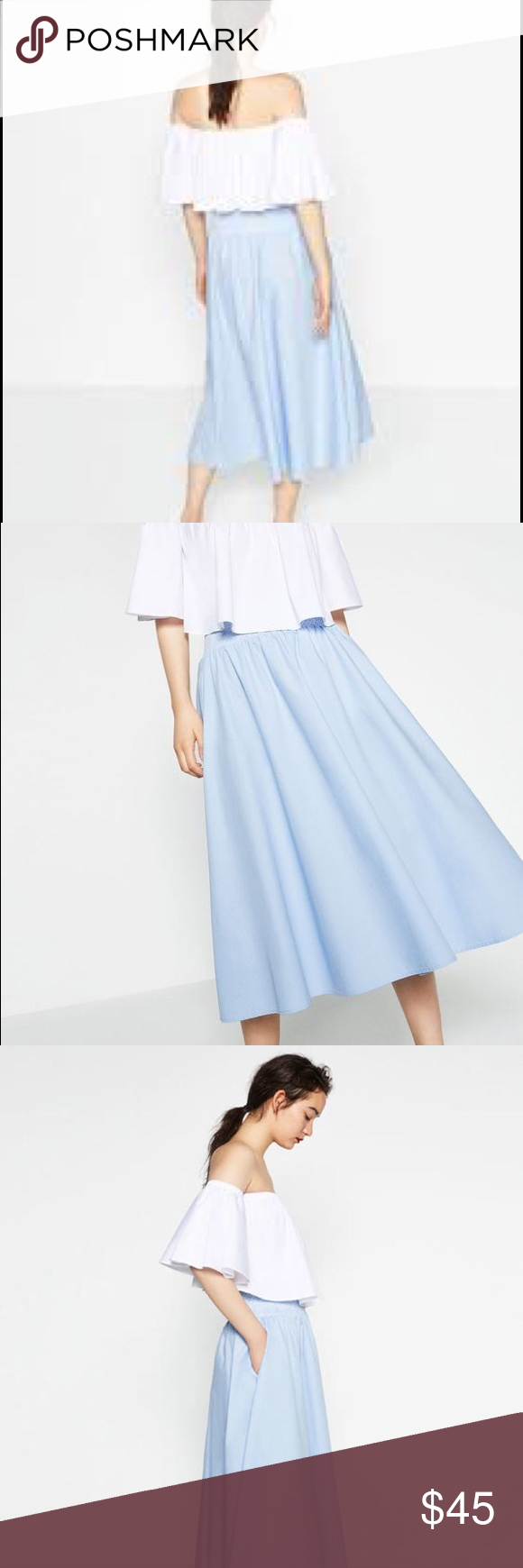 Zara Midi Poplin Skirt A lightweight pastel blue midi skirt in ...