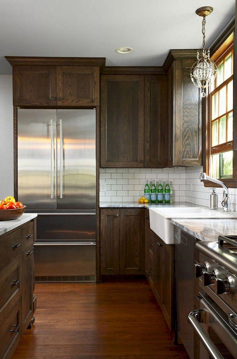 80 Beautiful Kitchen Backsplash Decor With Dark Cabinets Stained Kitchen Cabinets New Kitchen Cabinets Dark Wood Kitchen Cabinets