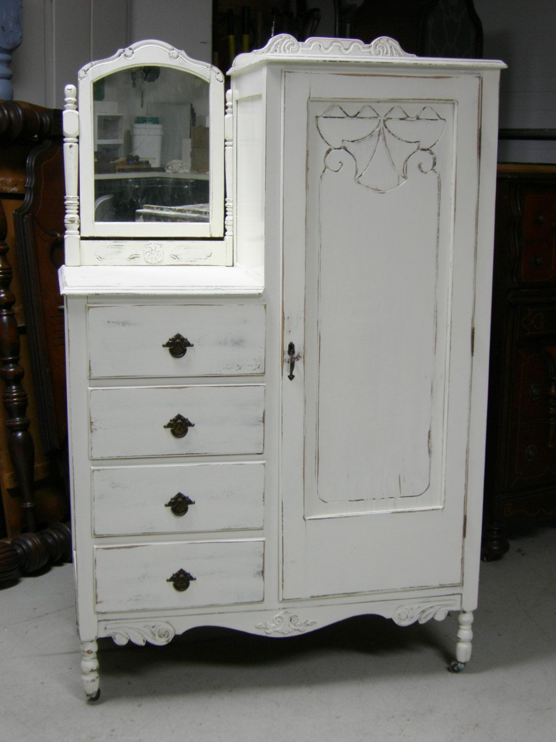 Shabby Antique Dresser Armoire Bedroom In A Box Painted French White For The Bedroom