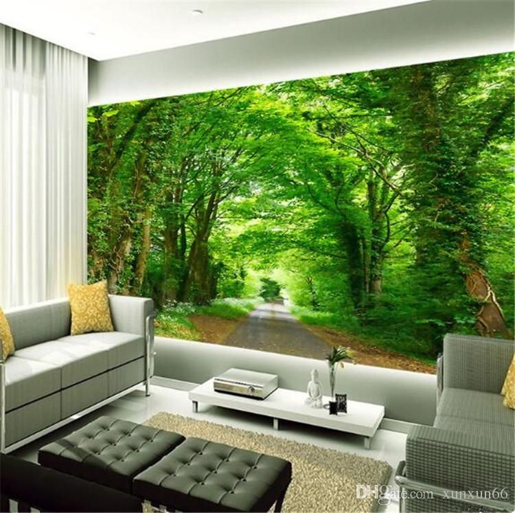 3d Photo Wall Mural Green Tree Nature Landscape Wall Papers Custom