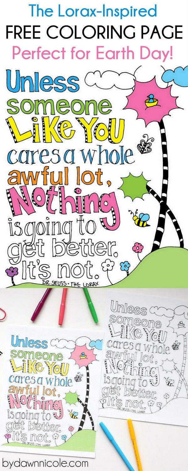 The Lorax-Inspired Earth Day Coloring Page | Zentangle, Ausmalbilder ...