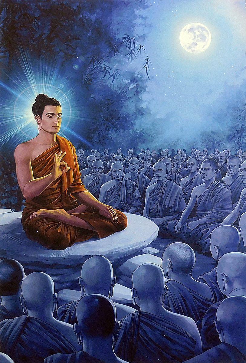 Lord Buddha Preaching to Monks - Poster | Buddha art, Buddhism meditation,  Buddha image
