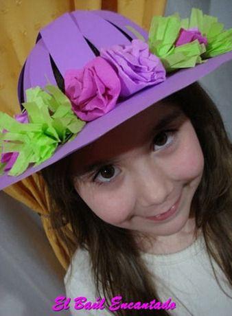 ef9eb43f075be Sombrero de Cartulina para la Fiesta de la Primavera