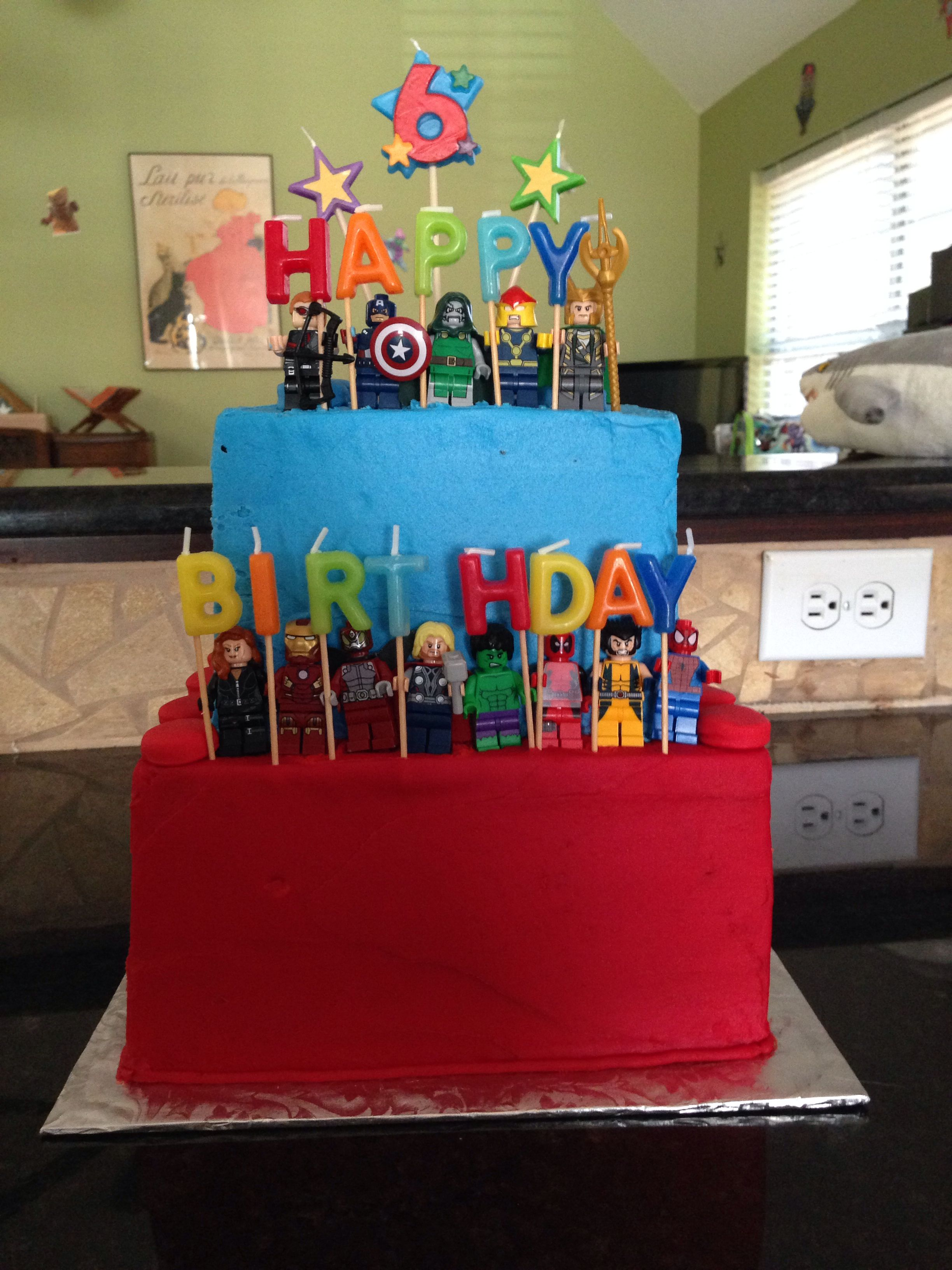 Lego Marvel Superhero Cake I Purchased The Candles And Legos Cakes By A Ray Of Coppell