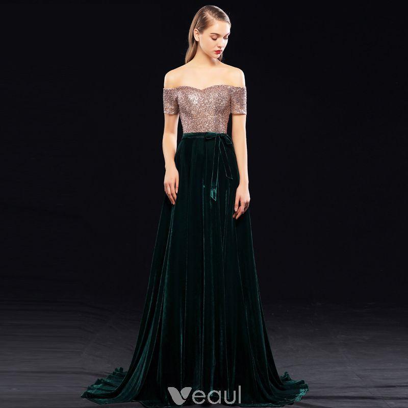 3de12c0e20 Piękne Ciemnozielony Sukienki Wieczorowe 2019 Princessa Przy Ramieniu  Cekiny Zamszowe Kótkie Rękawy Bez Pleców Trenem Sweep