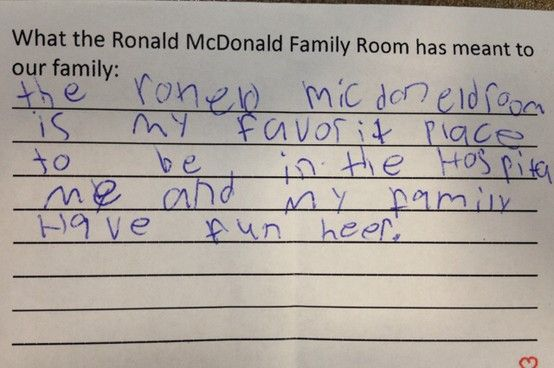 what does a ronald mcdonald family room mean to a child who uses it