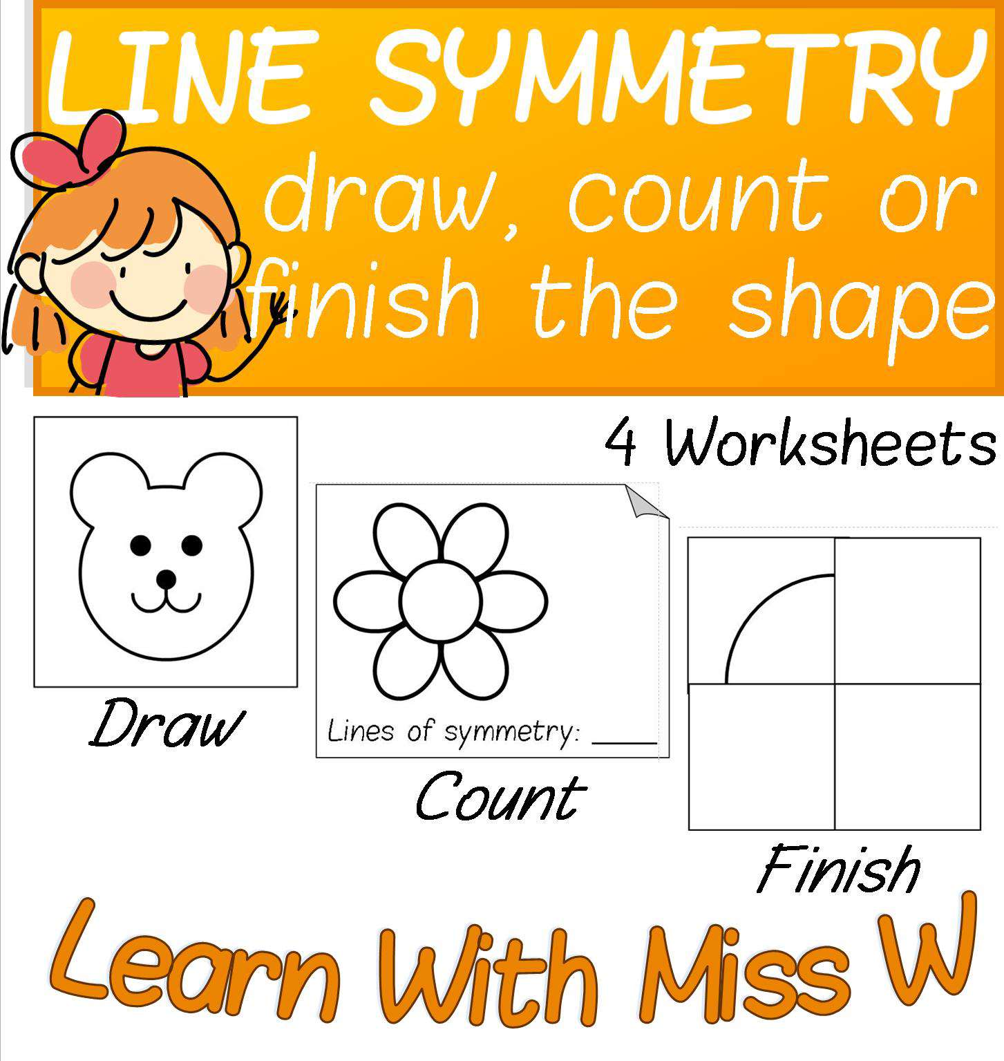 4 differentiated worksheets about lines of symmetry. Tasks include ...