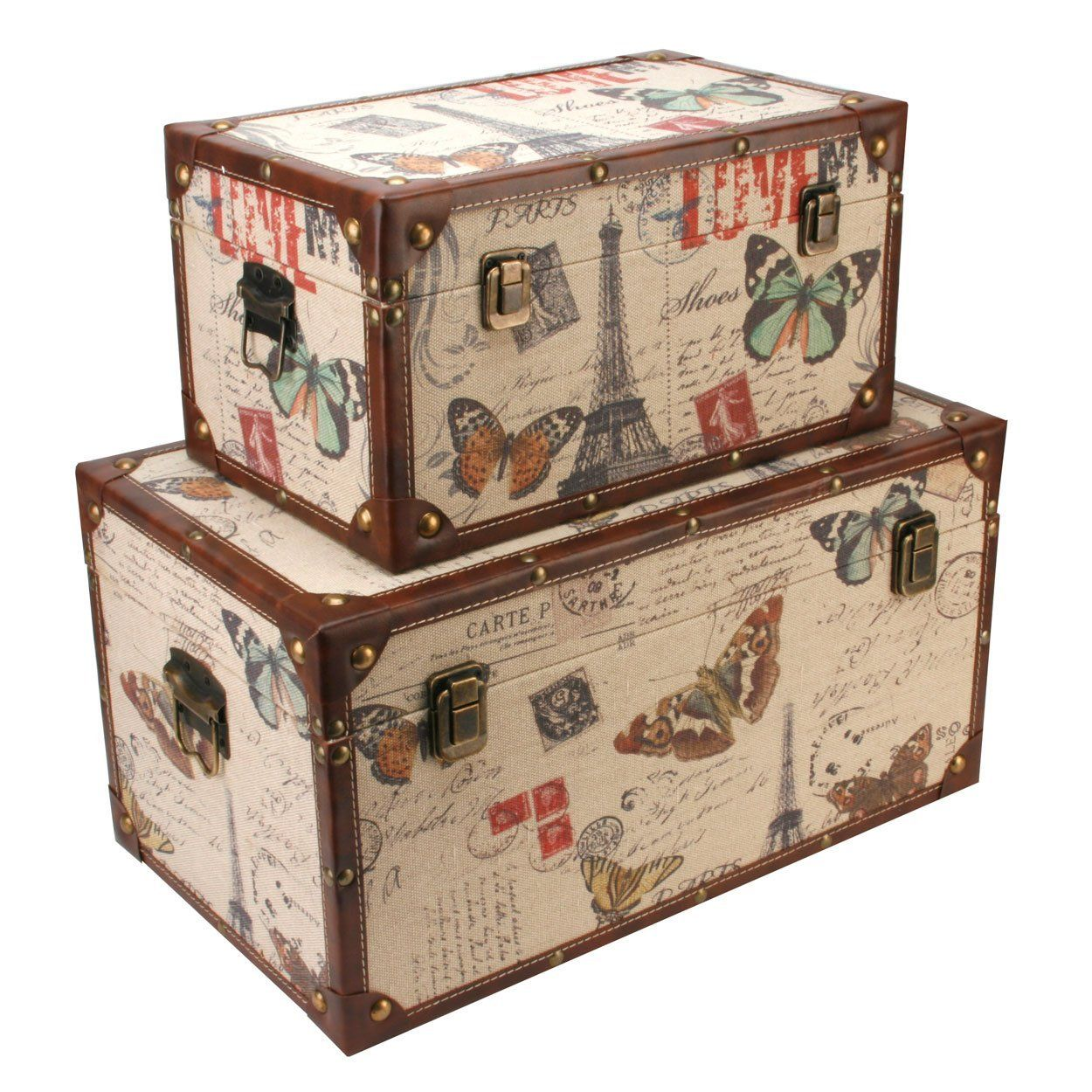 Beautiful Home Living Luggage Storage Boxes Set Of Two Paris City