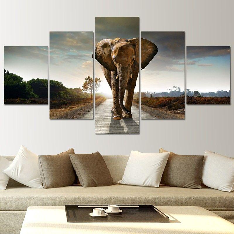 Aliexpress Com Buy Large Wall Decor Modern Paintings 5 Panels Wall Art Elephant Painting La Elephant Wall Art Wall Art Decor Living Room Wall Art Living Room Elephant decor for living room