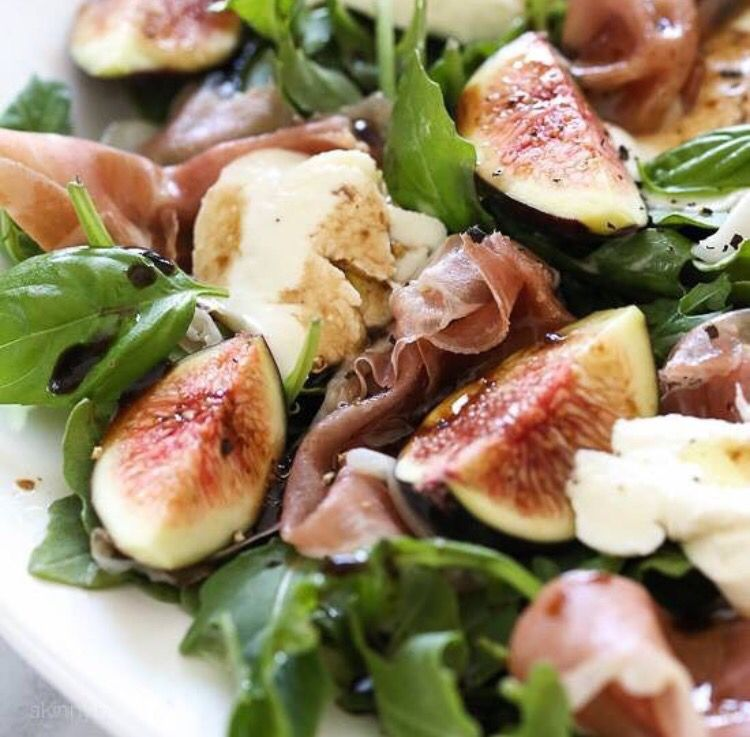 Fig, prosciutto, goat cheese or buffalo mozzarella salad with balsamic dressing