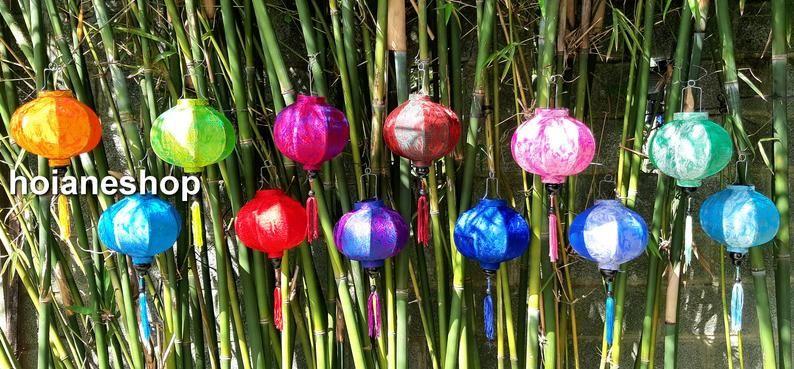 Christmas Gifs 2020 Vietnamese Set 12 pcs Vietnamese silk lanterns 22cm for wedding party | Etsy